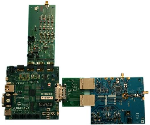 Clockwise from lower left: FPGA board, Multi-band ADC board, High-speed ADC board, Adapter