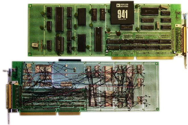 Wire-wrapped board for the early IBM PC